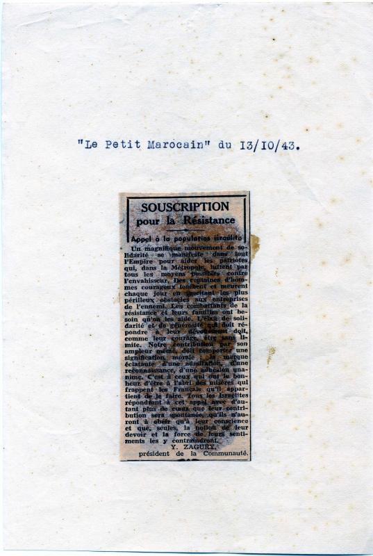 Le Conseil de la communauté juive de Casablanca invite les Juifs marocains à rejoindre l'armée française, 13.10.1943, Casablanca