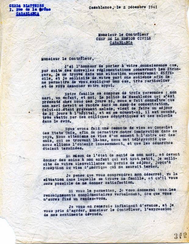 Lettre de Gerda Blatteiss au Contrôleur civil de Casablanca, 2 décembre 1941, Casablanca