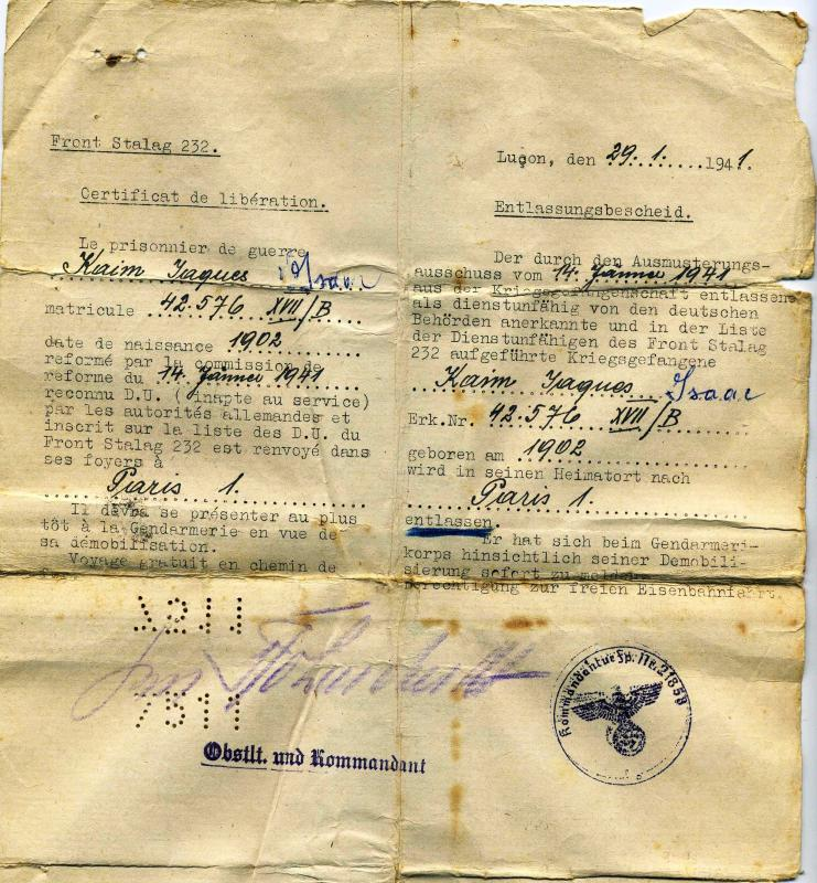 Certificate Of Release Of A Prisoner Of War Issued By The German