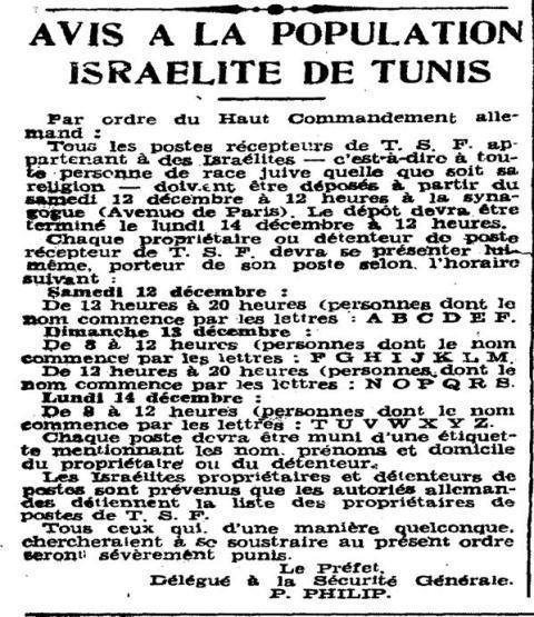 Avis A La Population Israelite De Tunis