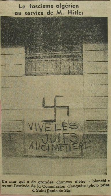 Photo d'un journal publié en Algérie avec une croix gammée et une inscription antisémite