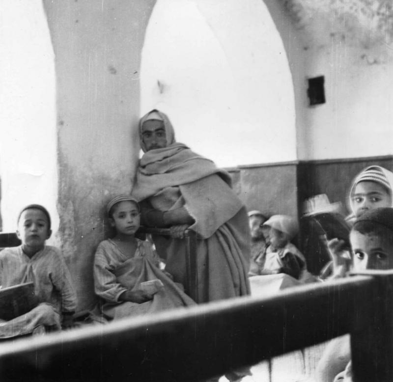 Jewish boys in a classroom of the community of cave dwellers jews (Troglodyte Jews) in Gharian, Libya