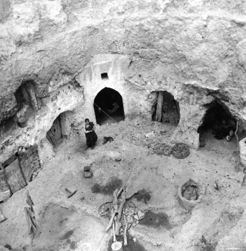 Top view of the rock excavations (caves) of the Jewish community of Gharian, Libya, 1947
