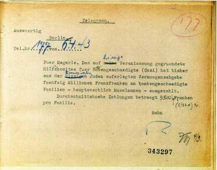 Telegram from the German Consul in Tunisia, Rudolf Rehan, to the German Foreign Office in Berlin, April 1943.