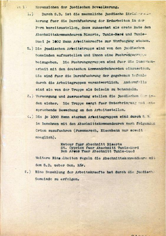 Second page of an order to recruit forced laborers for the construction of fortifications around a German bridge, 6.12.1942, Tunis