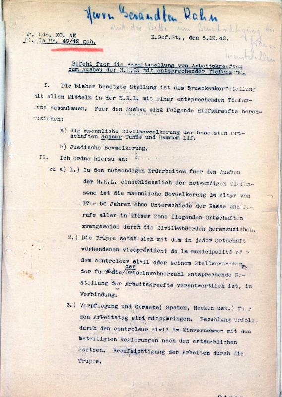 Order of recruitment of forced laborers for the construction of fortifications around a German bridge, 6.12.1942, Tunis