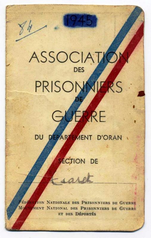 Certificat de prisonnier de guerre de Haïm Isaac, Algérie, 1944