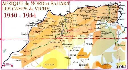 Carte de l'Afrique du Nord sous le régime de Vichy entre 1940 et 1944