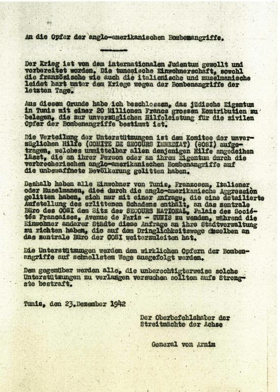 Un pamphlet de propagande en allemand signé par le général von Arnim, adressé à la population de Tunisie, décembre 1942