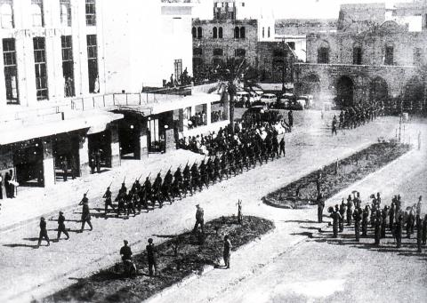 """<a href=""""/en/2942"""">A British army victory parade, including the Jewish Israeli soldiers, on the streets of Benghazi</a>"""
