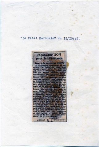 "<a href=""/en/2953"">Casablanca Jewish Community Council invites Moroccan Jews to join the French army, 10.13.1943, Casablanca</a>"