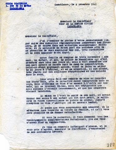"<a href=""/en/2952"">Letter from Gerda Blatteiss to the Civil Inspector in Casablanca, 2 December 1941, Casablanca</a>"