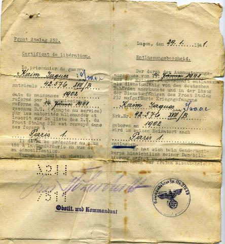 """<a href=""""/en/2915"""">Certificate of release of a prisoner of war, issued by the German command, Stalag 232</a>"""