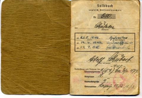 "<a href=""/en/2803"">Military booklet of Corporal Adolf Schubert (Arie Shai).</a>"