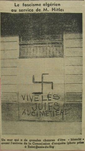 """<a href=""""/en/2955"""">A picture from a newspaper published in Algeria with a swastika and an antisemitic inscription</a>"""