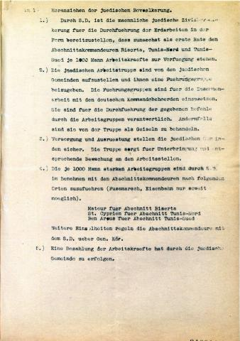 """<a href=""""/en/2886"""">Second page of an order to recruit forced laborers for the construction of fortifications around a German bridge, 6.12.1942, Tunis</a>"""